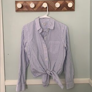 Madewell Striped Button up w tie